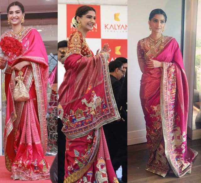 Sonam Kapoor in Pink Banarasi Silk Embroidered Saree by Abu Jani Sandeep Khosla