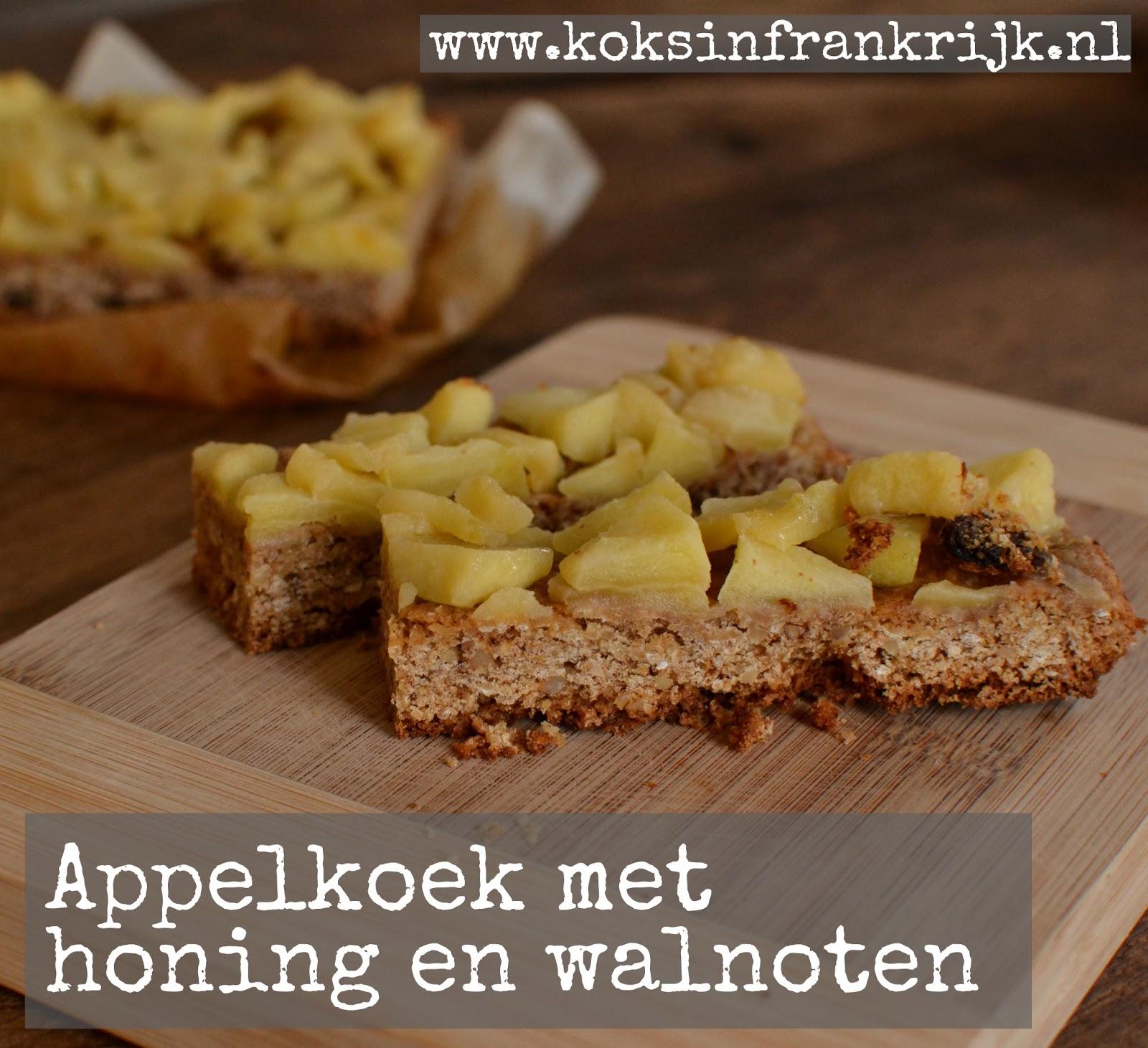 Appelkoek met honing, walnoten, haver en rozijnen