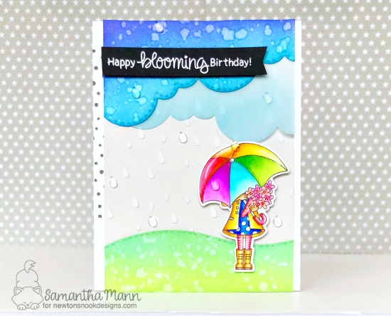 Spring card with umbrella by Samantha Mann | Loads of Blooms Stamp Set and Land and Sky Border Dies by Newton's Nook Designs