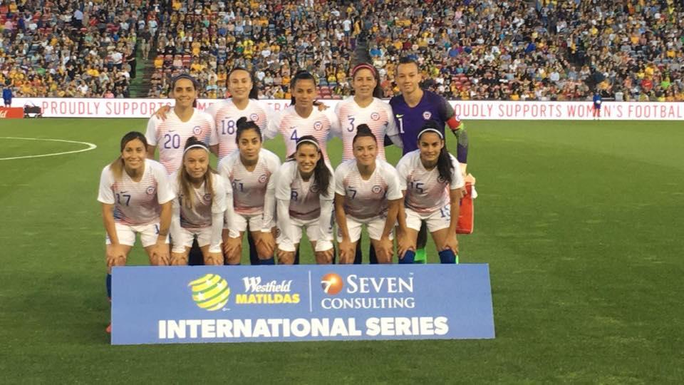 Formación de selección femenina de Chile ante Australia, amistoso disputado el 13 de noviembre de 2018