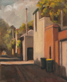 Oil painting of rubbish bins in a laneway bordered by buildings and vegetation.