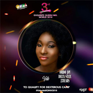 Vote Orido Joy for Exquisite Queen Nigeria World  2018 1