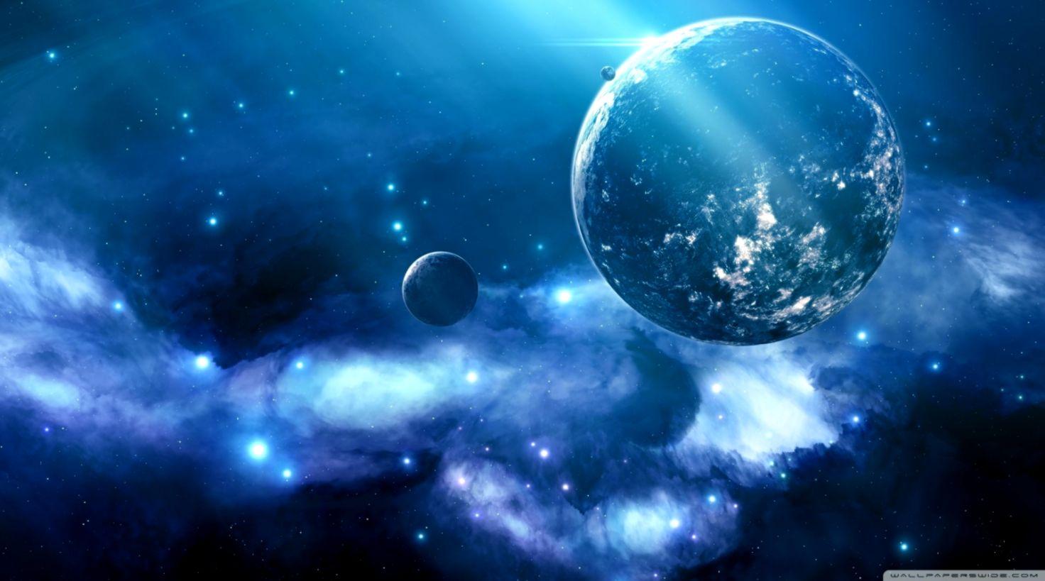 Space Blue Galaxy Hd Wallpaper Desktop Wallpapers Beautiful