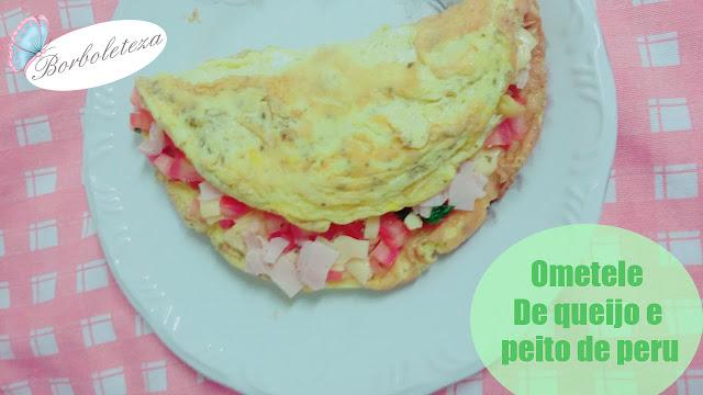 Como fazer omelete com queijo e peito de peru