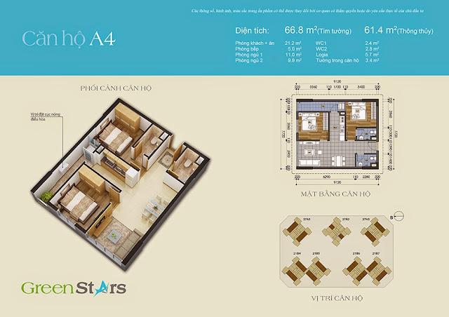 Căn hộ A4 66,8 m2 - Chung cư Green Stars