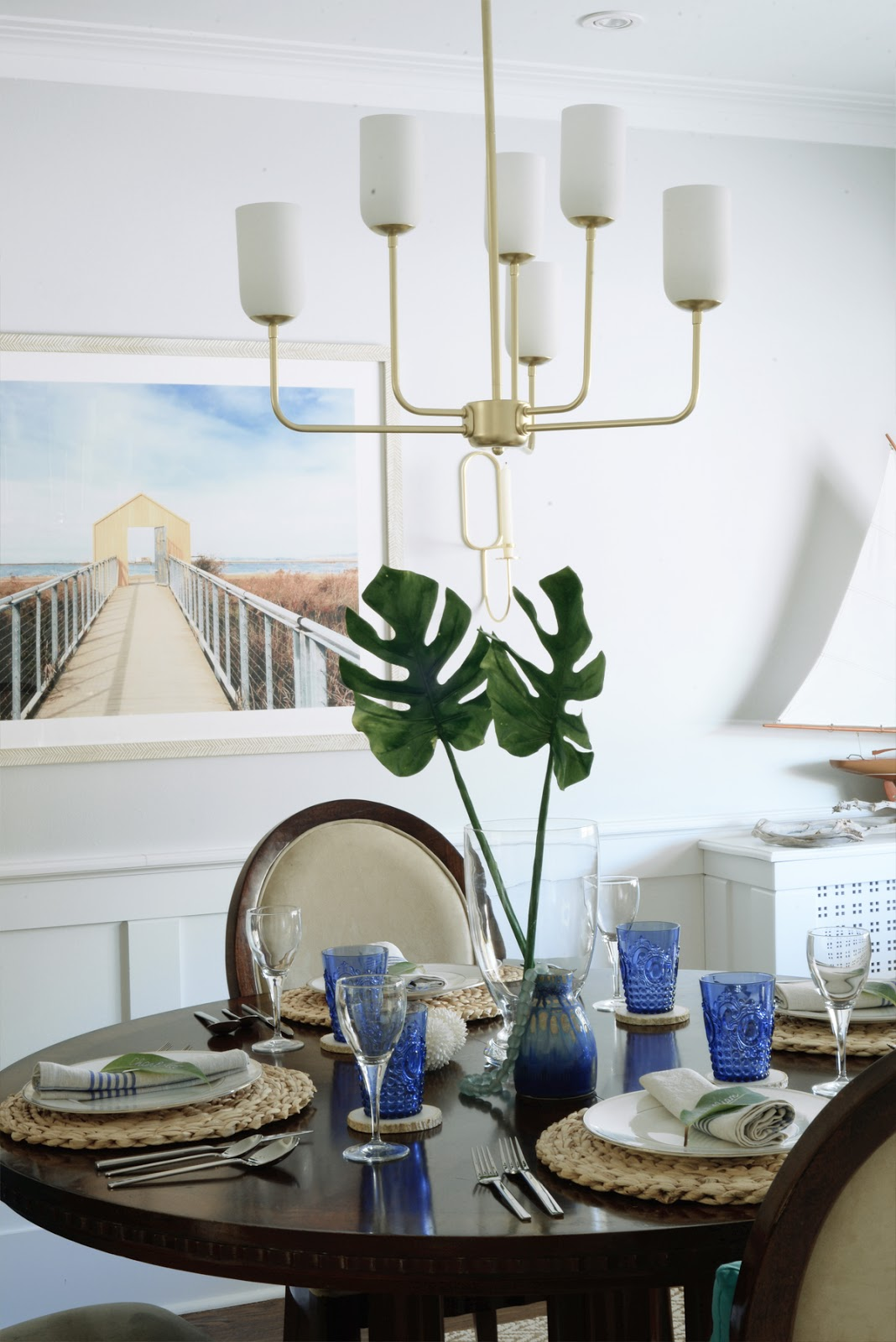 Rambling Renovators | tropical dining room, Hinkley Harlow chandelier