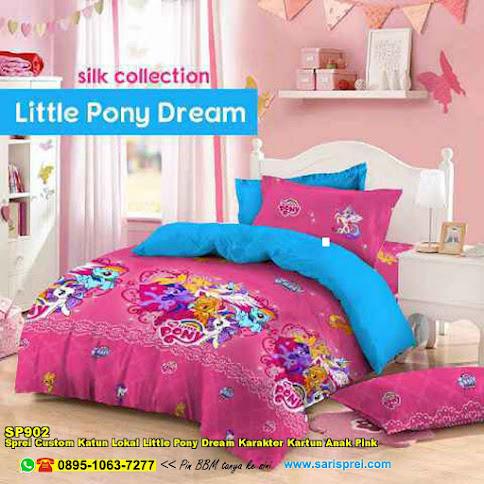 Sprei Custom Katun Lokal Little Pony Dream Karakter Kartun Anak Pink