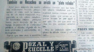 Ovnis en Necochea en 1950