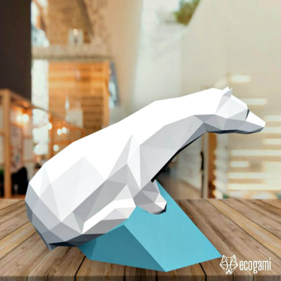 papercraft polar bear model