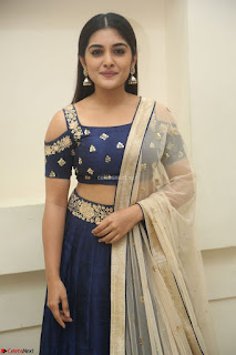 Niveda Thomas in Lovely Blue Cold Shoulder Ghagra Choli Transparent Chunni ~  Exclusive Celebrities Galleries 079