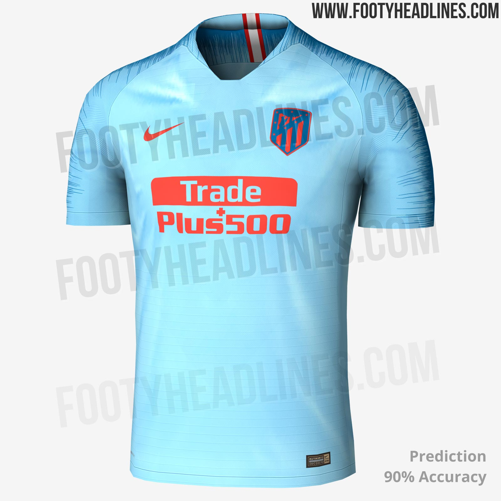 The new Atlético Madrid 2018-2019 away jersey is bright blue with dark blue  and red accents. The exact shades used on the Nike Atletico 2018-19 away  shirt ... 67539bcad