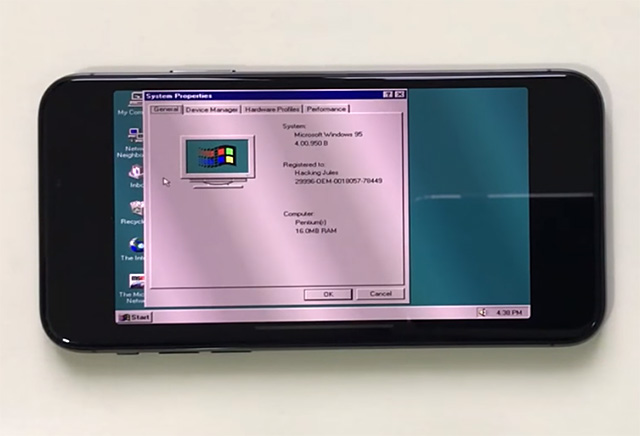 iPhone X 跑 Windows 95 毫無壓力