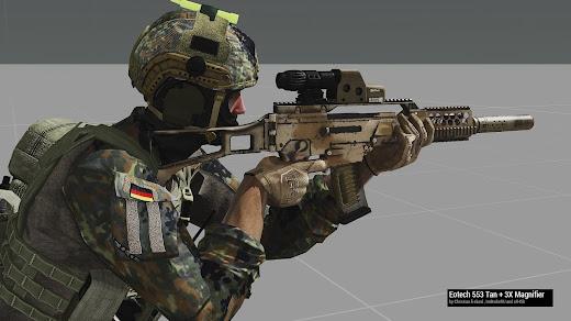 Arma3用KSKユニット アドオンで使い込まれたタンのG36
