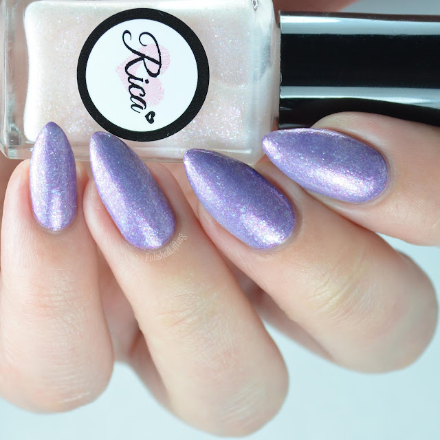 iridescent shimmer nail polish over purple