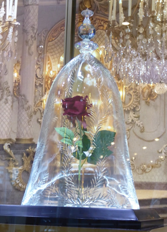 Beauty and the Beast Bell jar with rose prop
