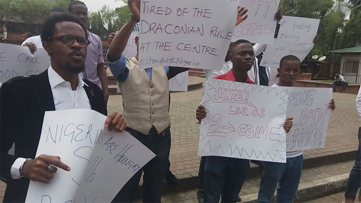 See the crowd that came out for anti-govt protest in Uyo today