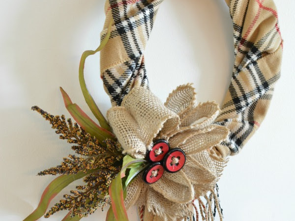 A Quick and Easy DIY Fall Scarf Wreath