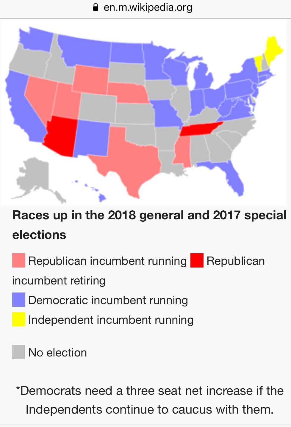 wikipedia org s map of the 2018 schedule for u s senate elections among democratic incumbent u s senators up for 2018 are