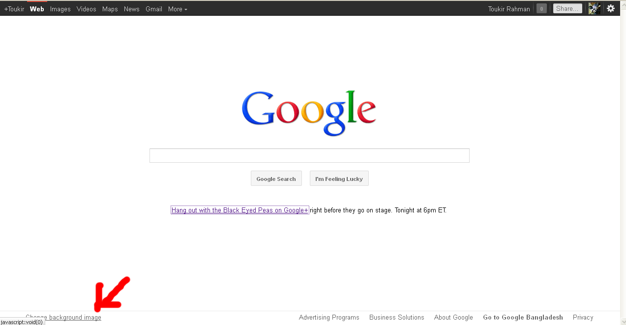 how to change google search background