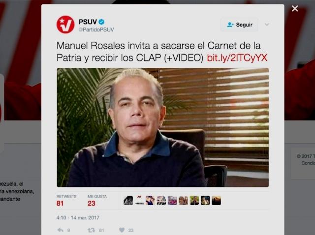 """Manuel Rosales llamó a sacarse el """"Carnet de la Patria"""""""