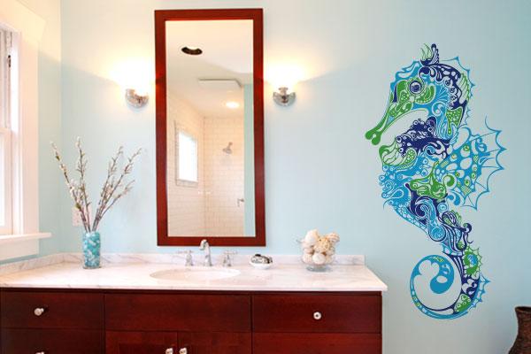 Adesivo ideal para banheiro com um cavalo marinho