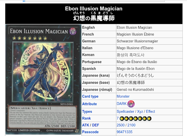 Efek Dan Cara Memanggil Kartu Yu-Gi-Oh Ebon Illusion Magician