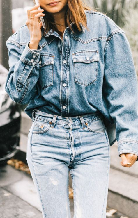 double denim trends / oversized shirt + jeans