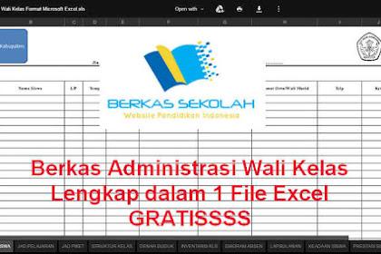 Berkas Administrasi Wali Kelas Lengkap dalam 1 File Excel GRATISSSS