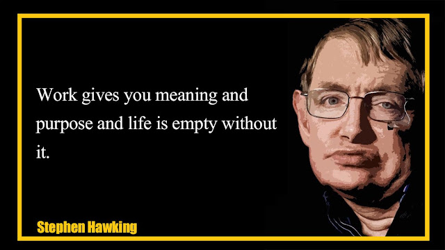 Work gives you meaning and purpose and life is empty without it Stephen Hawking