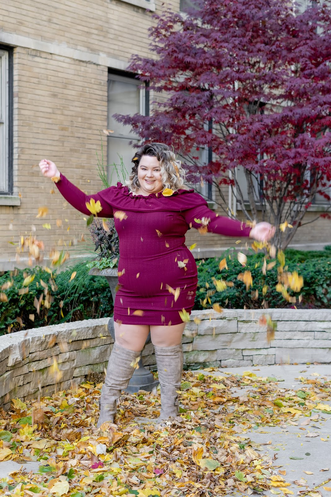natalie craig, natalie in the city, plus size fall fashion, 2018, off the shoulder dress, burgundy dresses, fashion to figure, new york and company, chicago, chicago plus size fashion blogger, petite plus size fashion blogger, just fab, wide calf boots