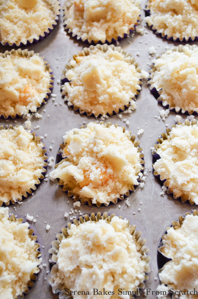 Peach Crumb Muffins divide coffee cake crumb evenly over the top of peach muffin batter from Serena Bakes Simply From Scratch.