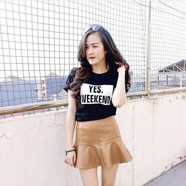 Model kaos Tumblr tee Yes weekend cewek kekinian