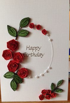 handmade paper quilling birthday card