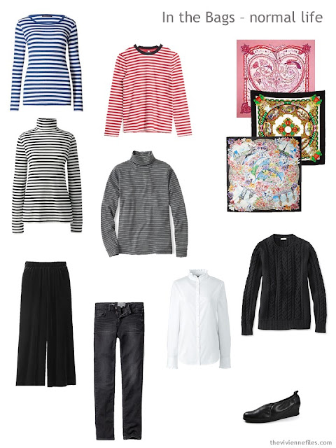 travel capsule wardrobe with lots of stripes