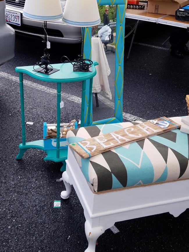 southwest design on bench, demilune table, aqua blue finds