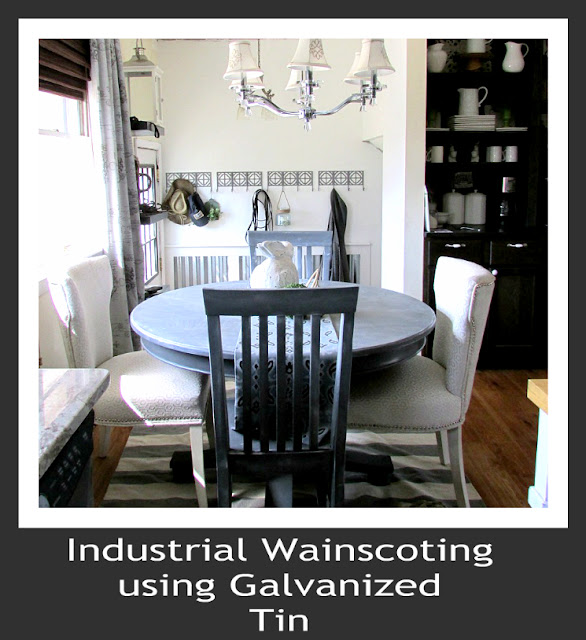 Industrial and Modern Wainscoting using metal and wood