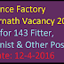 Ordnance Factory Ambarnath Vacancy 2016 Apply for 143 Fitter, Machinist & Other Posts
