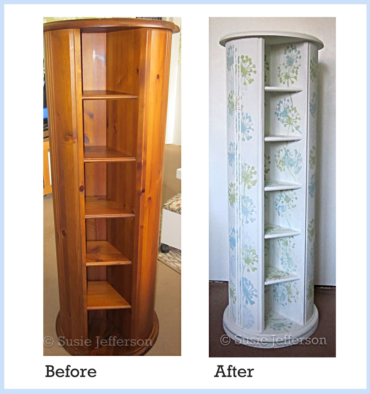 SHABBY CHIC PAINTED WOODEN CRAFT or CD STORAGE SPINNER ...