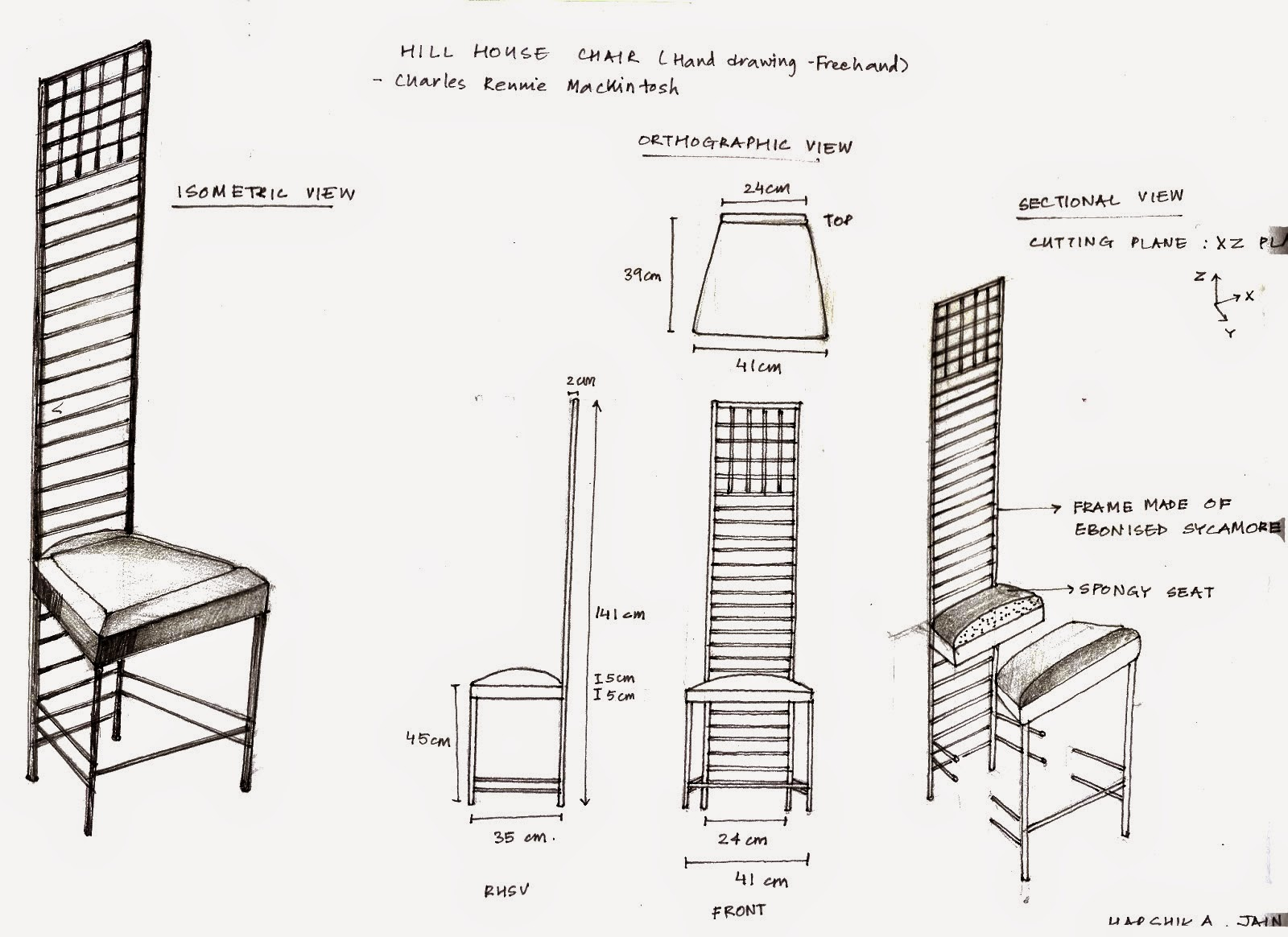 Free Home Blueprints Crypt Decrypt Hill House Chair Sketch Orthographic