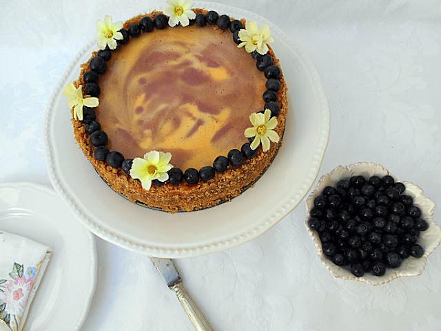 receita cheesecake baunilha e mirtilos