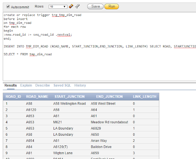 Proof of Data Insertion in Dim Road Table