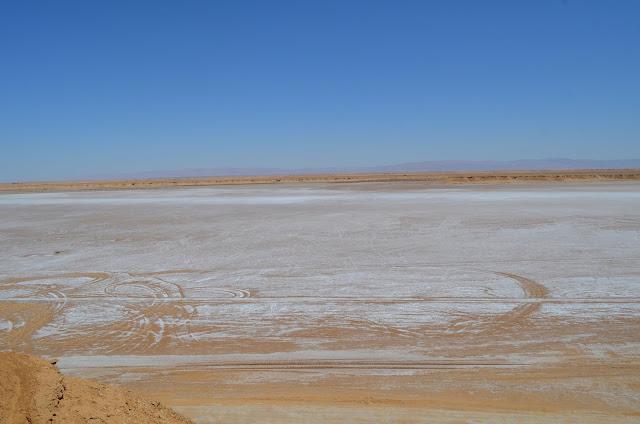 Lago de sal na Tunísia en Tozeur