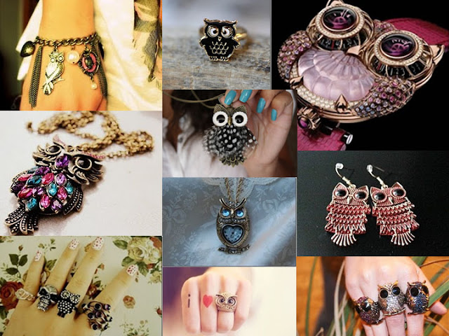 colar de coruja; anel de coruja; pulseira de coruja