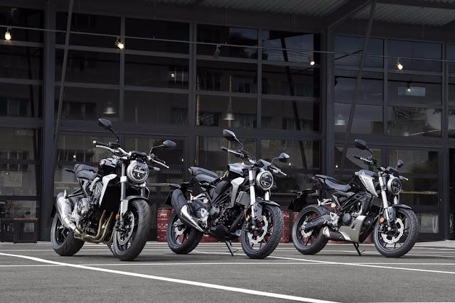 La familia 2018 Honda CB incluye CB1000R, CB300R y CB125R (de izquierda a derecha)