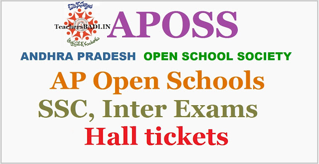 APOSS SSC exams, Inter exams Hall Tickets