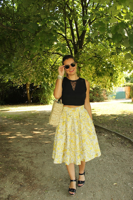 ray ban clubmaster keloptic touche rock jupe jaune H&M les petites bulles de ma vie