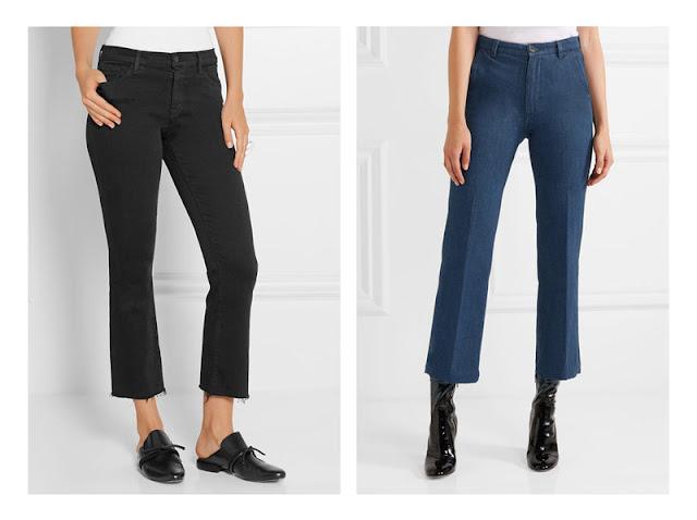 Черные и синие укороченные джинсы с разной обувью