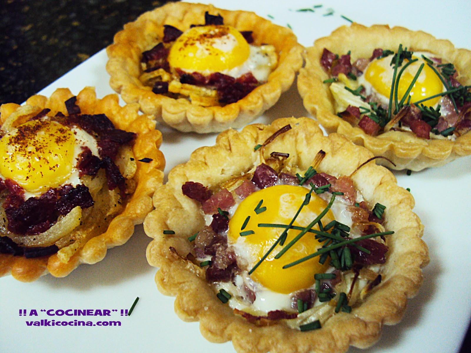 tartaletas saladas con huevos de codorniz