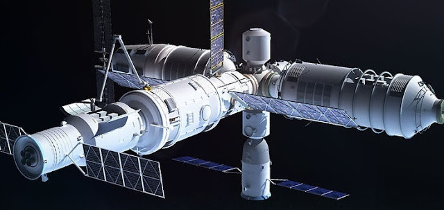 An artist's rendering of the Tiangong 3 space station. Image Credit: Adrian Mann / www.bisbos.com