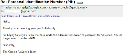 adsense address verification - confirmation mail sample